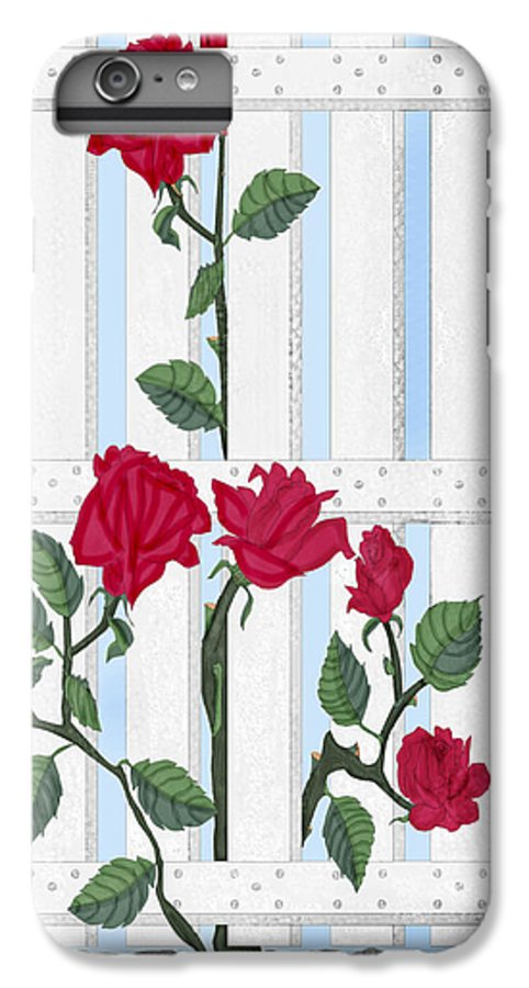 Roses IPhone 6 Plus Case featuring the painting Seven Roses For Mary by Anne Norskog