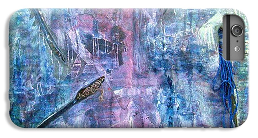 Abstract IPhone 6 Plus Case featuring the painting Seven Zippers by Nancy Mueller