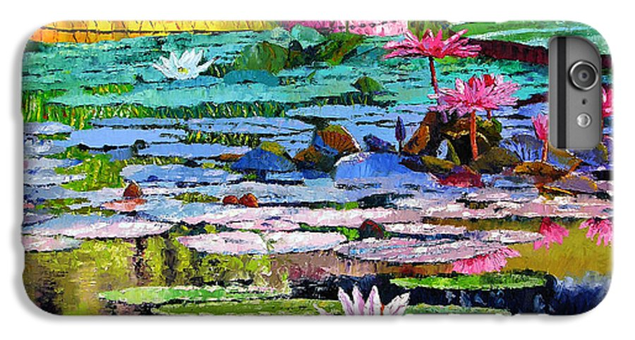 Water Lilies IPhone 6 Plus Case featuring the painting Shadows And Sunlight by John Lautermilch