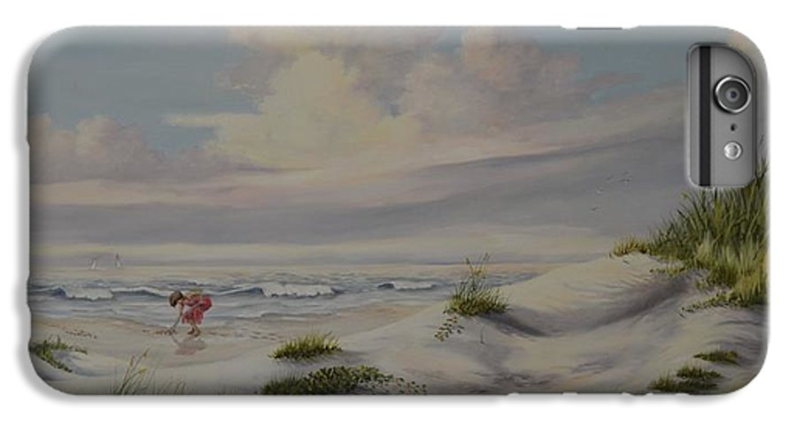 Landscape IPhone 6 Plus Case featuring the painting Shadows In The Sand Dunes by Wanda Dansereau