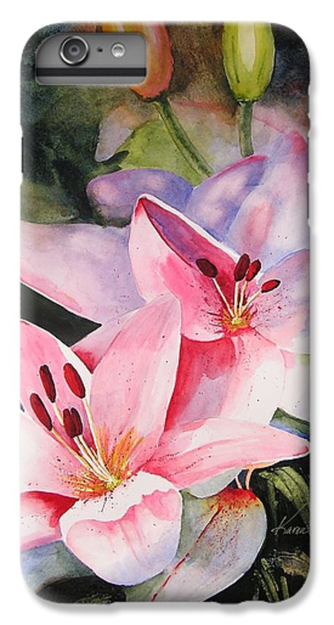 Lilies IPhone 6 Plus Case featuring the painting Shady Ladies by Karen Stark