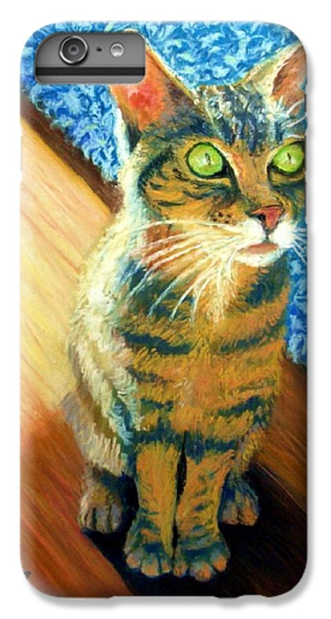 Cat IPhone 6 Plus Case featuring the painting She Wants To Be Famous by Minaz Jantz