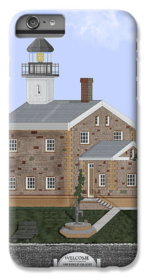 Lighthouse IPhone 6 Plus Case featuring the painting Sheffield Island Lighthouse Connecticut by Anne Norskog