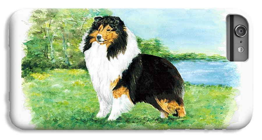 Shetland Sheepdog IPhone 6 Plus Case featuring the painting Sheltie Wait by Kathleen Sepulveda