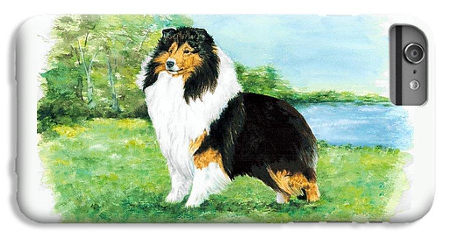 Shetland Sheepdog IPhone 6 Plus Case featuring the painting Sheltie Wait by Kathleen Sepulveda