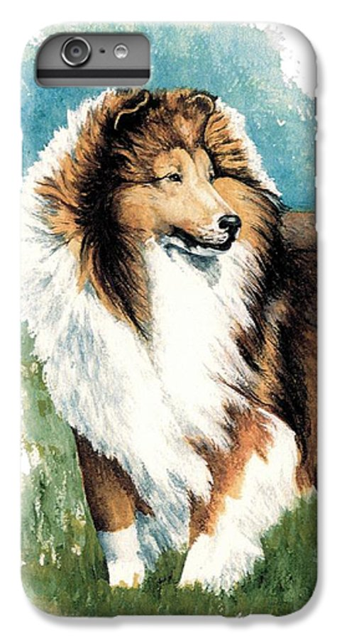 Shetland Sheepdog IPhone 6 Plus Case featuring the painting Sheltie Watch by Kathleen Sepulveda