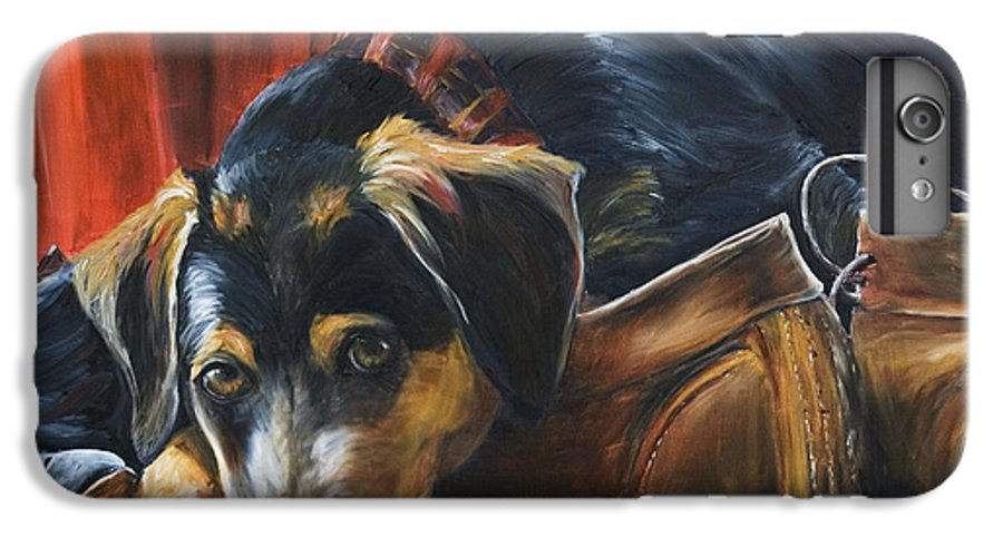 Dog IPhone 6 Plus Case featuring the painting Shoe Dog by Nik Helbig