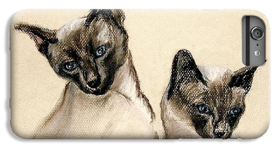 Cat IPhone 6 Plus Case featuring the drawing Sibling Love by Cori Solomon