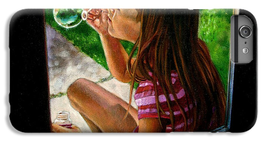 Girl IPhone 6 Plus Case featuring the painting Sierra Blowing Bubbles by John Lautermilch