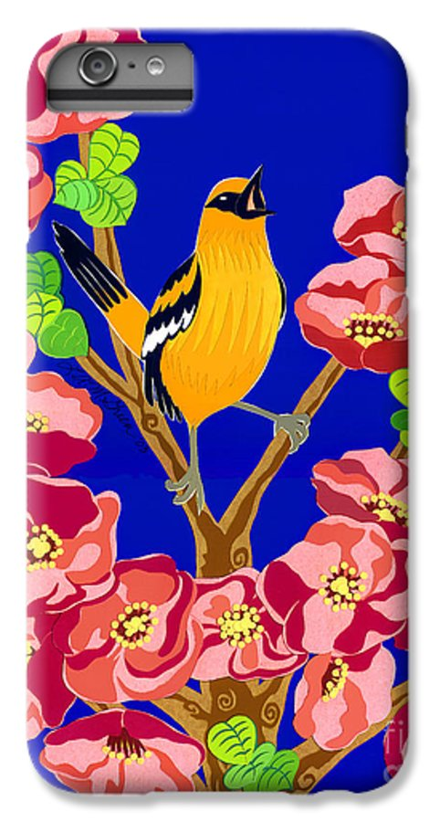 Nature IPhone 6 Plus Case featuring the drawing Singing Oriole by Lucyna A M Green