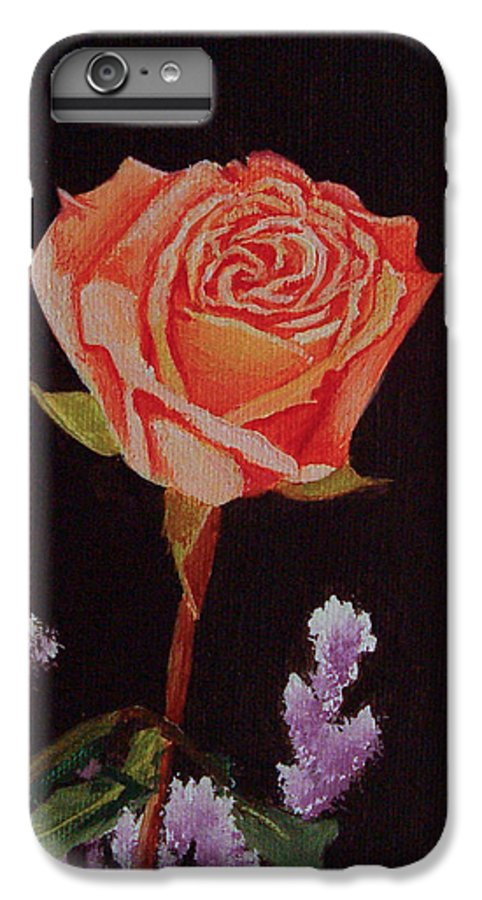 Rose IPhone 6 Plus Case featuring the painting Single Rose by Quwatha Valentine