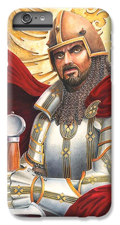 Swords IPhone 6 Plus Case featuring the drawing Sir Gawain by Melissa A Benson