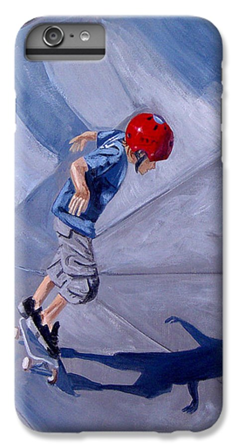 Boy IPhone 6 Plus Case featuring the painting Skateboarding by Quwatha Valentine
