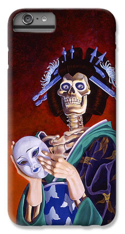 Skeleton IPhone 6 Plus Case featuring the painting Skeletal Geisha With Mask by Melissa A Benson