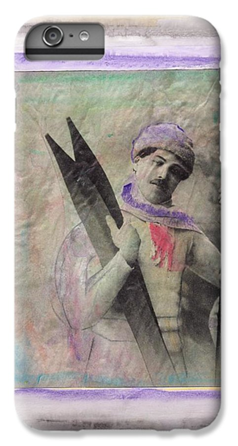 Ski IPhone 6 Plus Case featuring the mixed media Skiboarder Around 1930 by Michael Puya