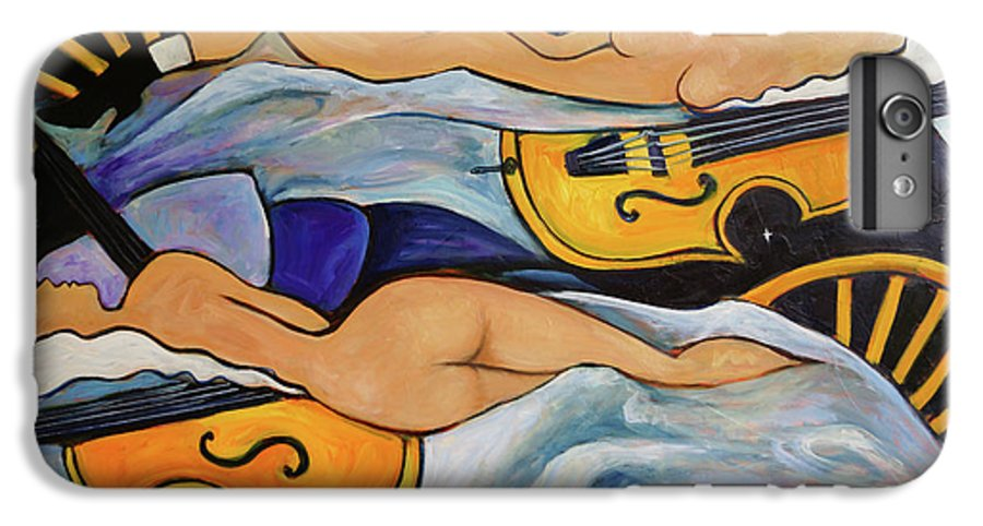 Musicians IPhone 6 Plus Case featuring the painting Sleeping Cellists by Valerie Vescovi