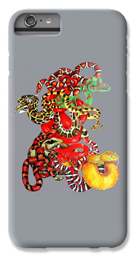 Reptile IPhone 6 Plus Case featuring the drawing Slither by Barbara Keith