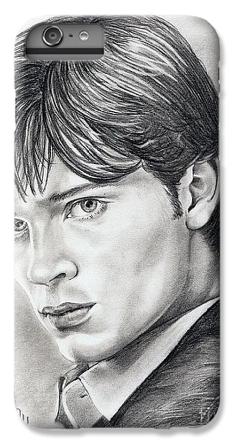 Superman IPhone 6 Plus Case featuring the drawing Smallville Tom Welling by Murphy Elliott