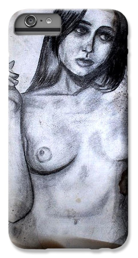 Nude IPhone 6 Plus Case featuring the drawing Smoker by Thomas Valentine