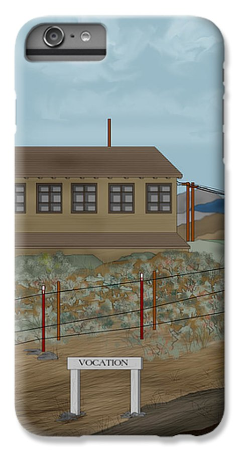 Camp Vocation IPhone 6 Plus Case featuring the painting Smokestack And Heart Mountain At Camp Vocation by Anne Norskog