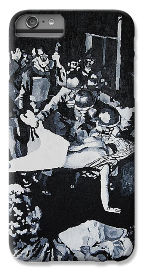 Civil Rights IPhone 6 Plus Case featuring the painting Sncc Photographer Is Arrested By National Guard by Lauren Luna