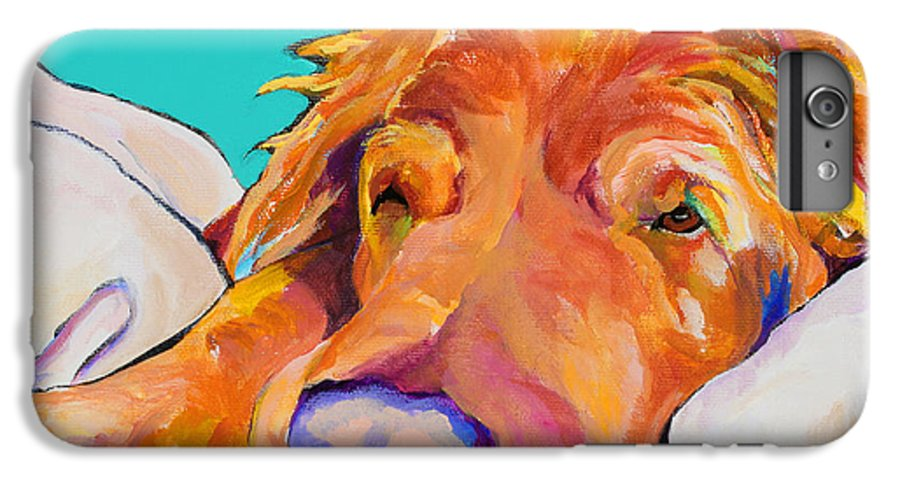 Dog Poortraits IPhone 6 Plus Case featuring the painting Snoozer King by Pat Saunders-White