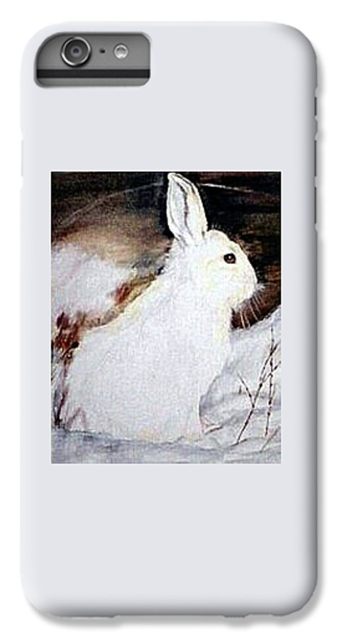 Snowshoe Hare IPhone 6 Plus Case featuring the painting Snow Bunny by Debra Sandstrom