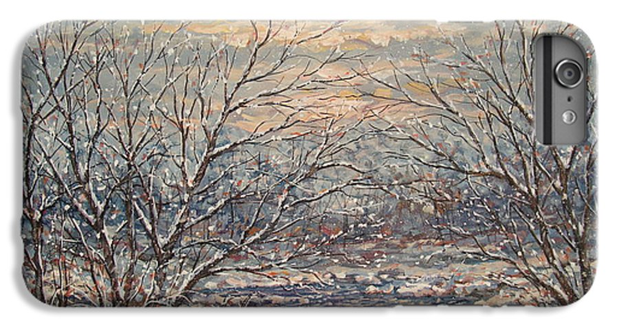 Landscape IPhone 6 Plus Case featuring the painting Snow By Brook. by Leonard Holland