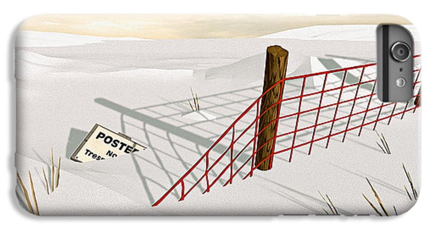 Snow IPhone 6 Plus Case featuring the painting Snow Fence by Peter J Sucy