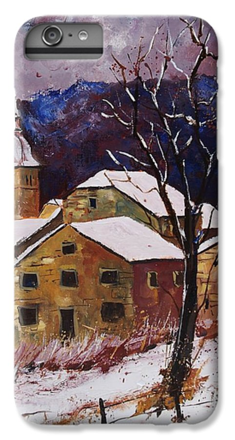 Landscape IPhone 6 Plus Case featuring the painting Snow In Chassepierre by Pol Ledent