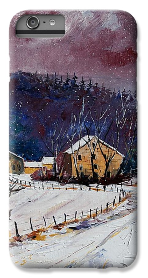 Landscape IPhone 6 Plus Case featuring the painting Snow In Sechery by Pol Ledent