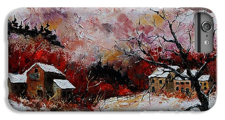 Snow IPhone 6 Plus Case featuring the painting Snow In The Ardennes 78 by Pol Ledent