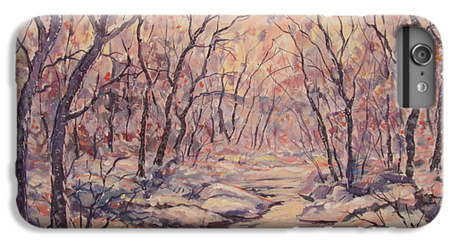 Landscape IPhone 6 Plus Case featuring the painting Snow In The Woods. by Leonard Holland