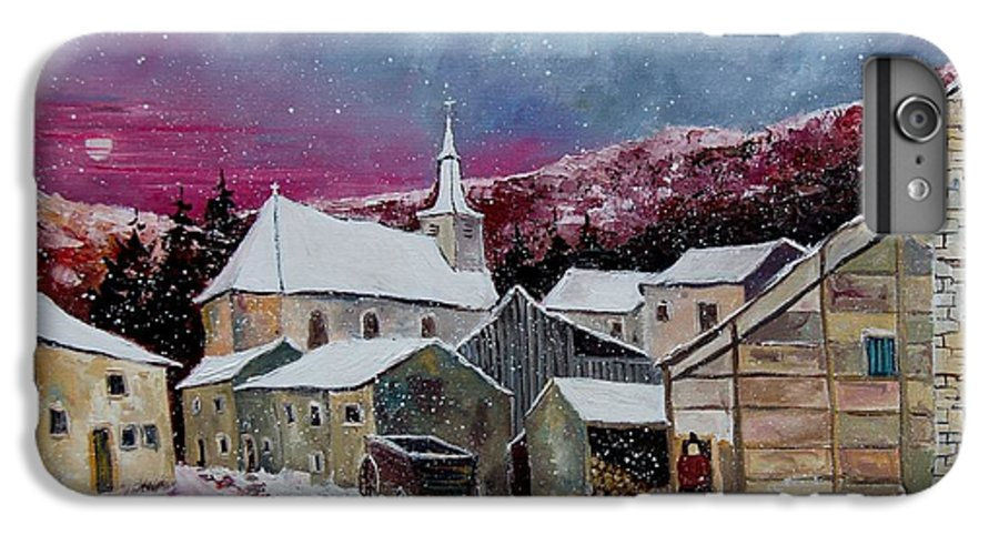 Snow IPhone 6 Plus Case featuring the painting Snow Is Falling by Pol Ledent