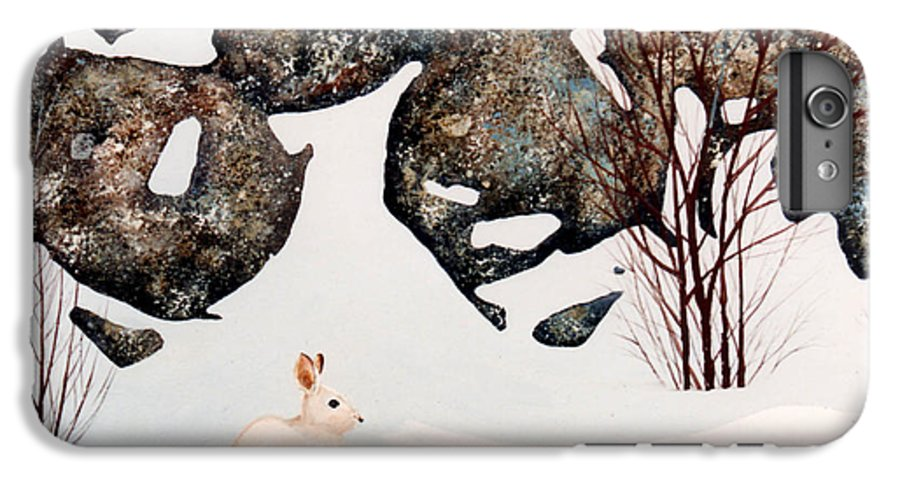Wildlife IPhone 6 Plus Case featuring the painting Snow Ledges Rabbit by Frank Wilson
