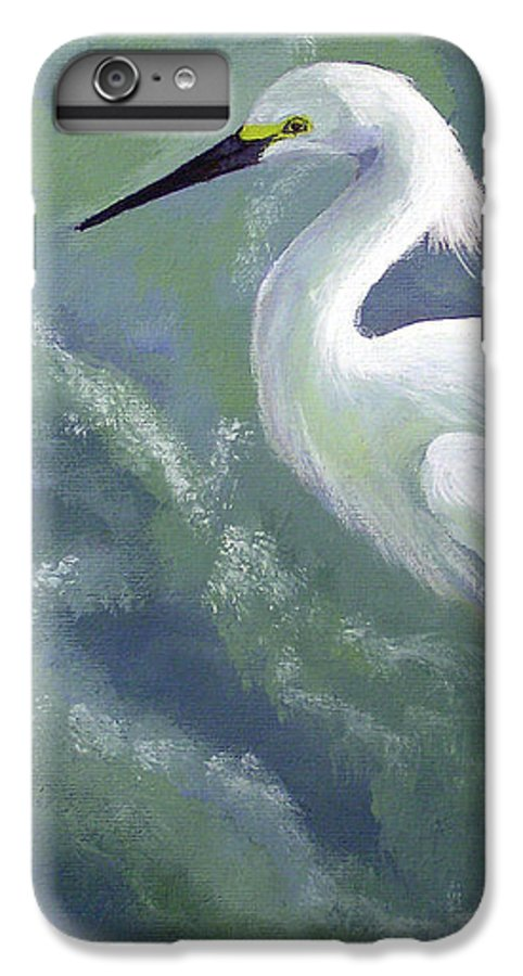 Egret IPhone 6 Plus Case featuring the painting Snowy Egret In Water by Adam Johnson