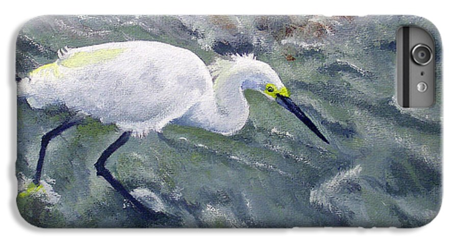 Egret IPhone 6 Plus Case featuring the painting Snowy Egret Near Jetty Rock by Adam Johnson