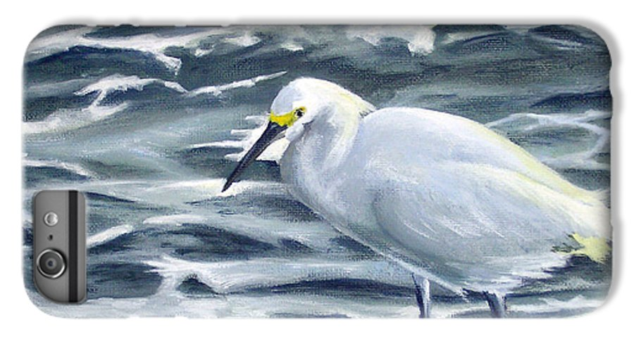 Egret IPhone 6 Plus Case featuring the painting Snowy Egret On Jetty Rock by Adam Johnson