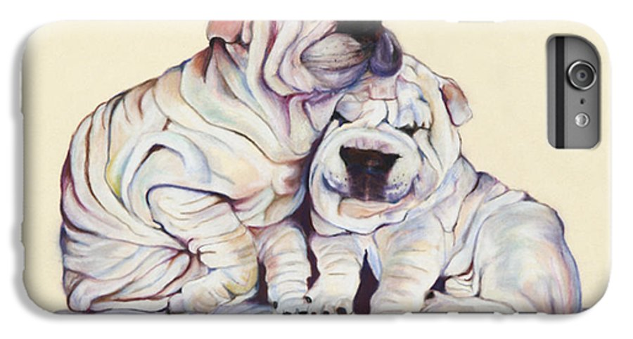 Dog Painting IPhone 6 Plus Case featuring the pastel Snuggles by Pat Saunders-White
