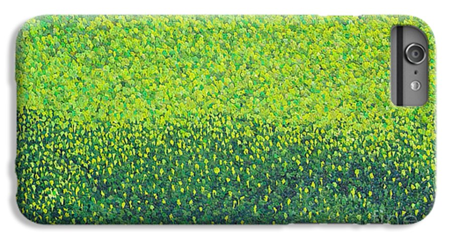 Abstract IPhone 6 Plus Case featuring the painting Soft Green Wet Trees by Dean Triolo