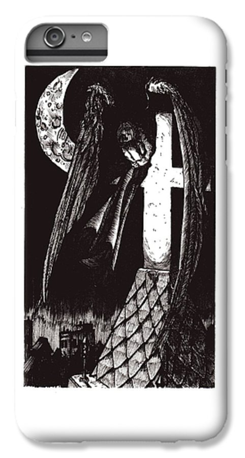 Angel IPhone 6 Plus Case featuring the drawing Solemn Vigil by Tobey Anderson
