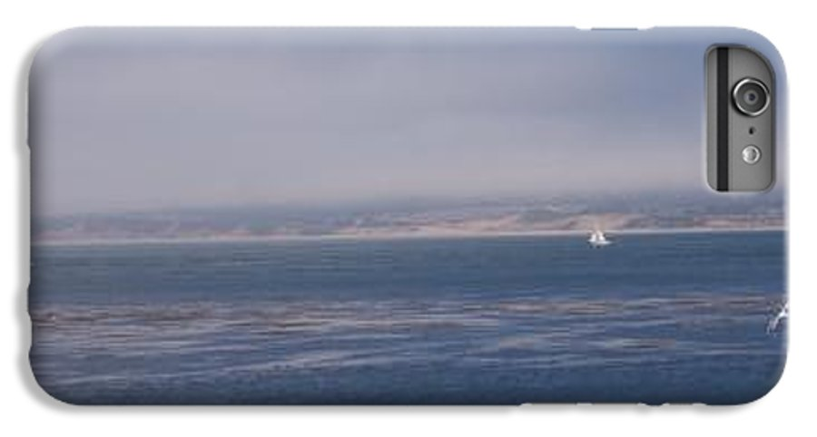 Sailing Outdoors Sail Ocean Monterey Bay Sea Seascape Boat Shoreline Sky Pacific Nature California IPhone 6 Plus Case featuring the photograph Solo Sail In Monterey Bay by Pharris Art