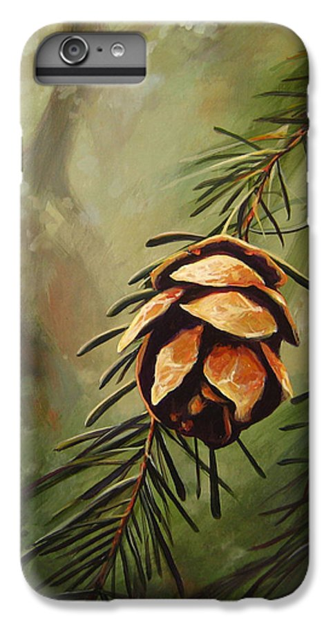 Closeup Of Spruce Cone IPhone 6 Plus Case featuring the painting Solstice by Hunter Jay