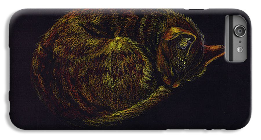 A Cat Soundly Asleep-oil Pastel IPhone 6 Plus Case featuring the painting Sound Asleep II by Mui-Joo Wee