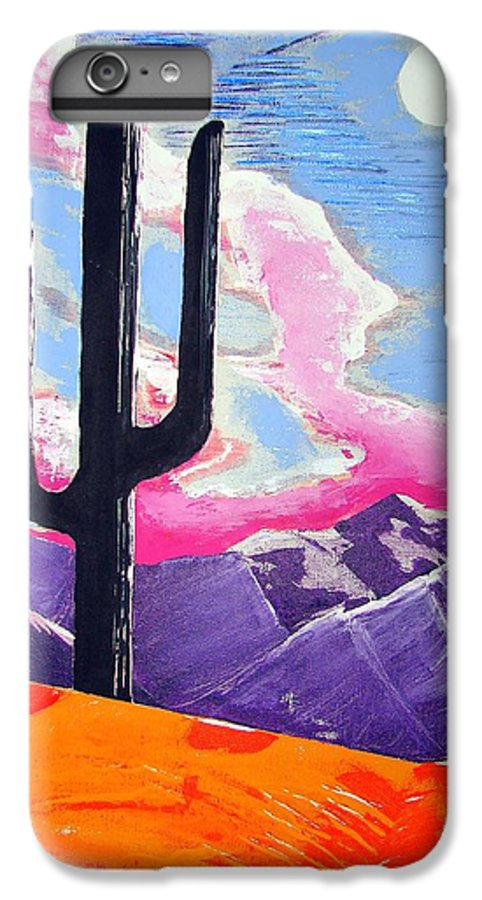 Cactus IPhone 6 Plus Case featuring the painting Southwest Skies 2 by J R Seymour