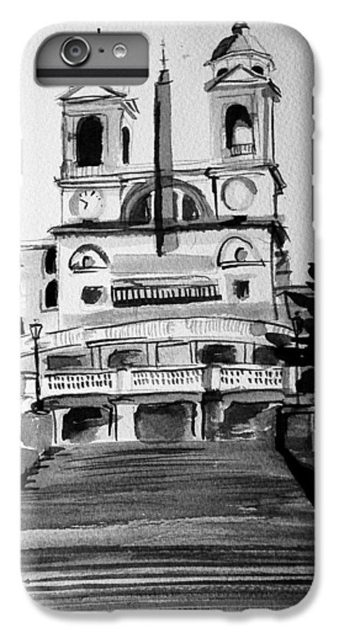 Ink IPhone 6 Plus Case featuring the painting Spanish Steps by Laura Rispoli