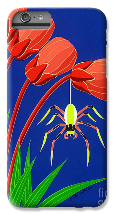 Nature IPhone 6 Plus Case featuring the drawing Spider by Lucyna A M Green