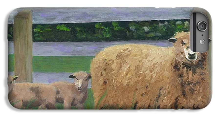 Sheep Lambs Countryside Farm Spring IPhone 6 Plus Case featuring the painting Sping Lambs by Paula Emery