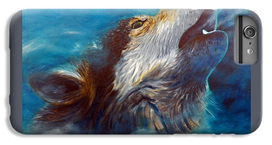 Wolf IPhone 6 Plus Case featuring the painting Spirit Of The Wolf by Brian Commerford