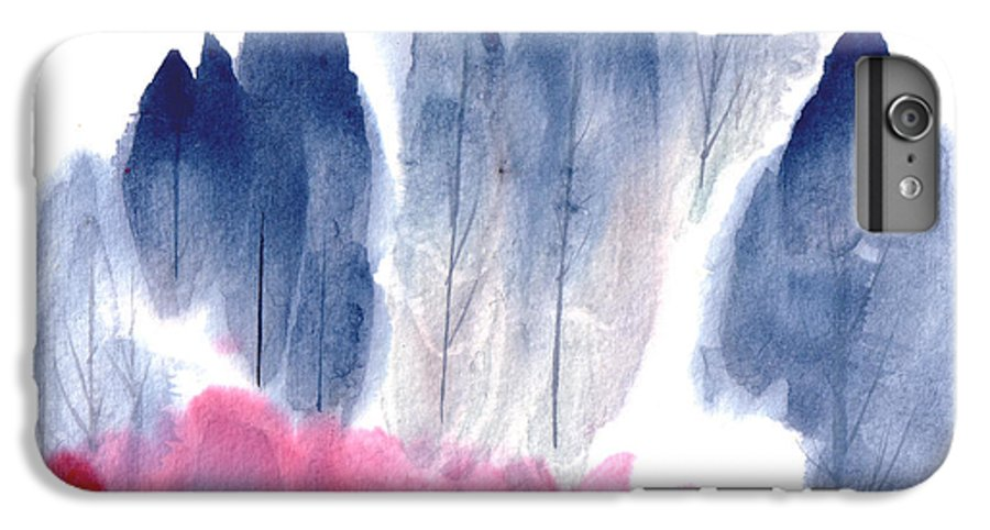 A Forest With Red Blooming Bushes In Spring. This Is A Contemporary Chinese Ink And Color On Rice Paper Painting With Simple Zen Style Brush Strokes.  IPhone 6 Plus Case featuring the painting Spring Forest by Mui-Joo Wee